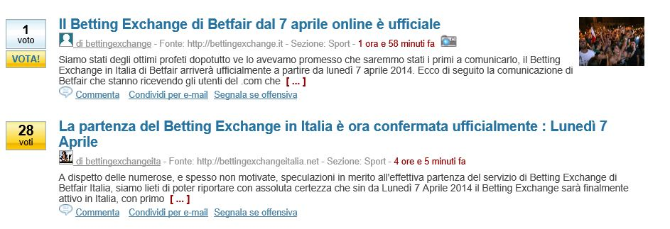 arrivo betting exchange in italia